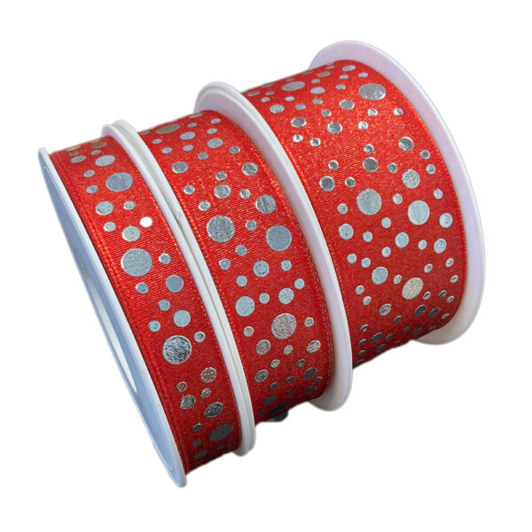 Red ribbon with silver dots
