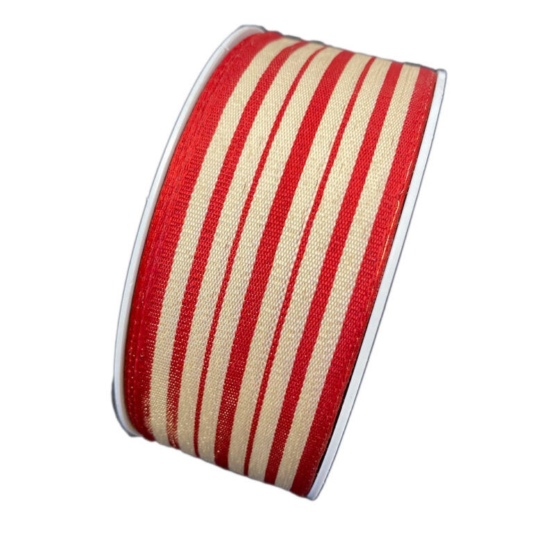 Red and beige striped ribbon