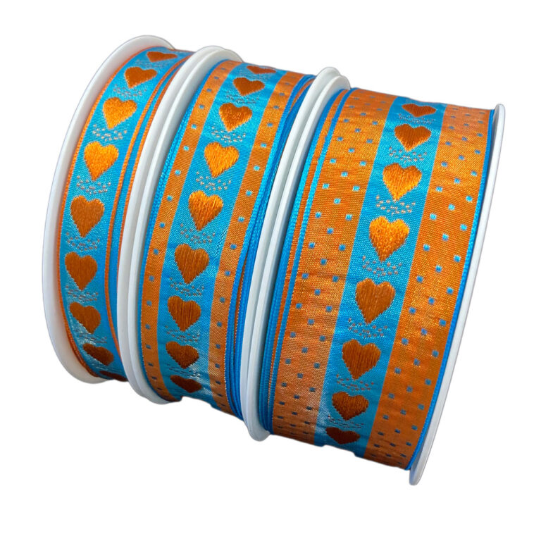 Teal ribbon with orange heart