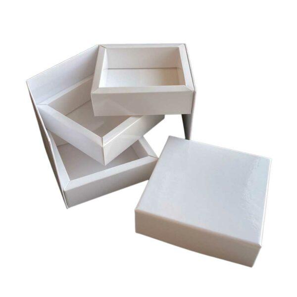 White three-tiered display box