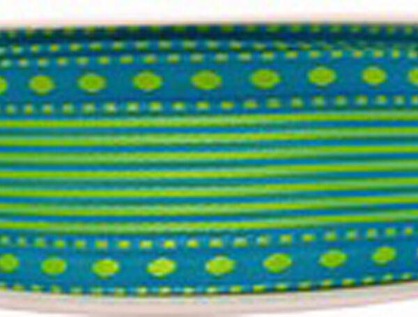 Ruban laitonné vert sur bleu