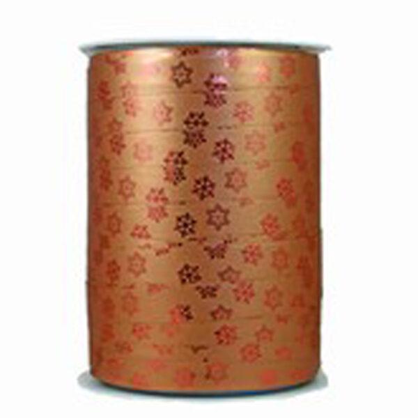 Ruban bolduc flocons de neige bronze métallique