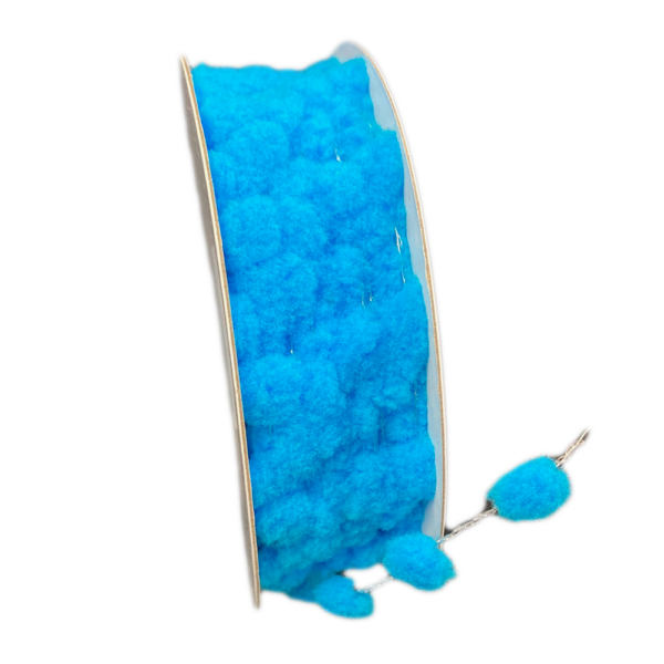 Bright blue soft pompom ribbon (21mm)