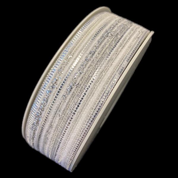 RUBAN BLANC MULTI-TEXTURE, AVEC ACCENT MÉTALLIQUE (30mm)