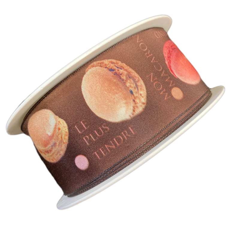 BROWN RIBBON WITH MACARON (1.5IN)