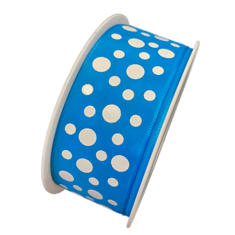 Ruban Bleu à pois blanc laqué, collection Maldives
