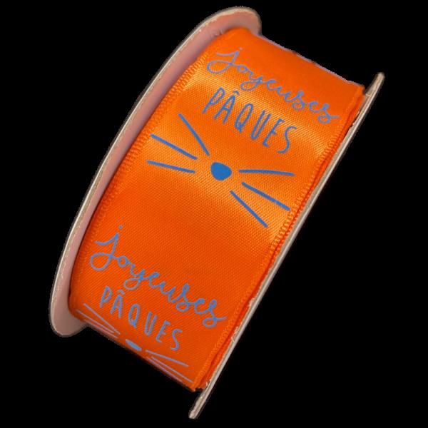 """""""joyeuses pâques"""" ribbon, orange (40mm)"""