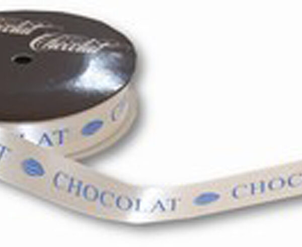 Ruban CHOCOLAT blanc-bleu