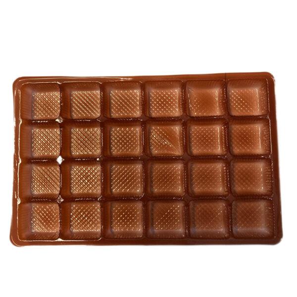 Brown cavities rectangle for 24 chocolates