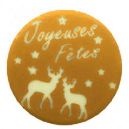 """Blister plates - deer """"joyeuses fêtes"""" gold"""